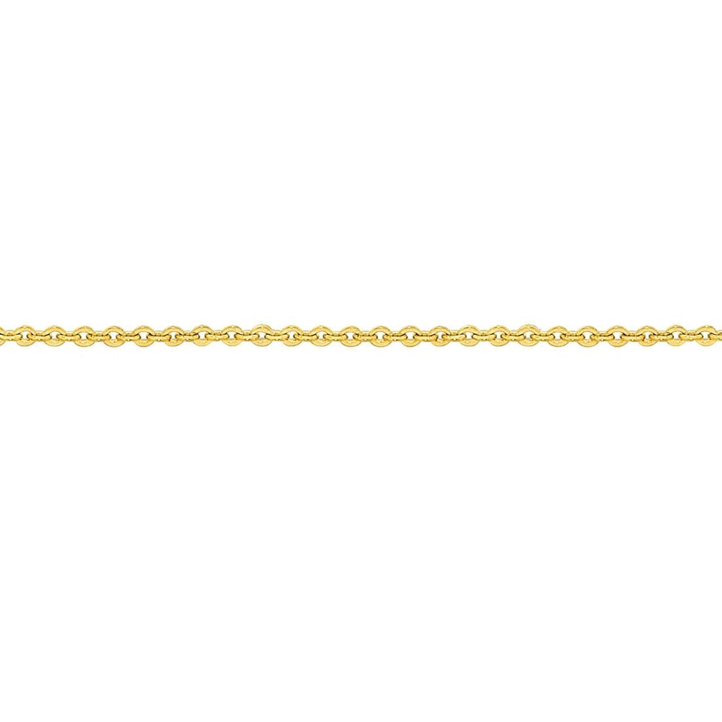 9ct Yellow Gold Silver Infused Fine Cable Necklace 40cm