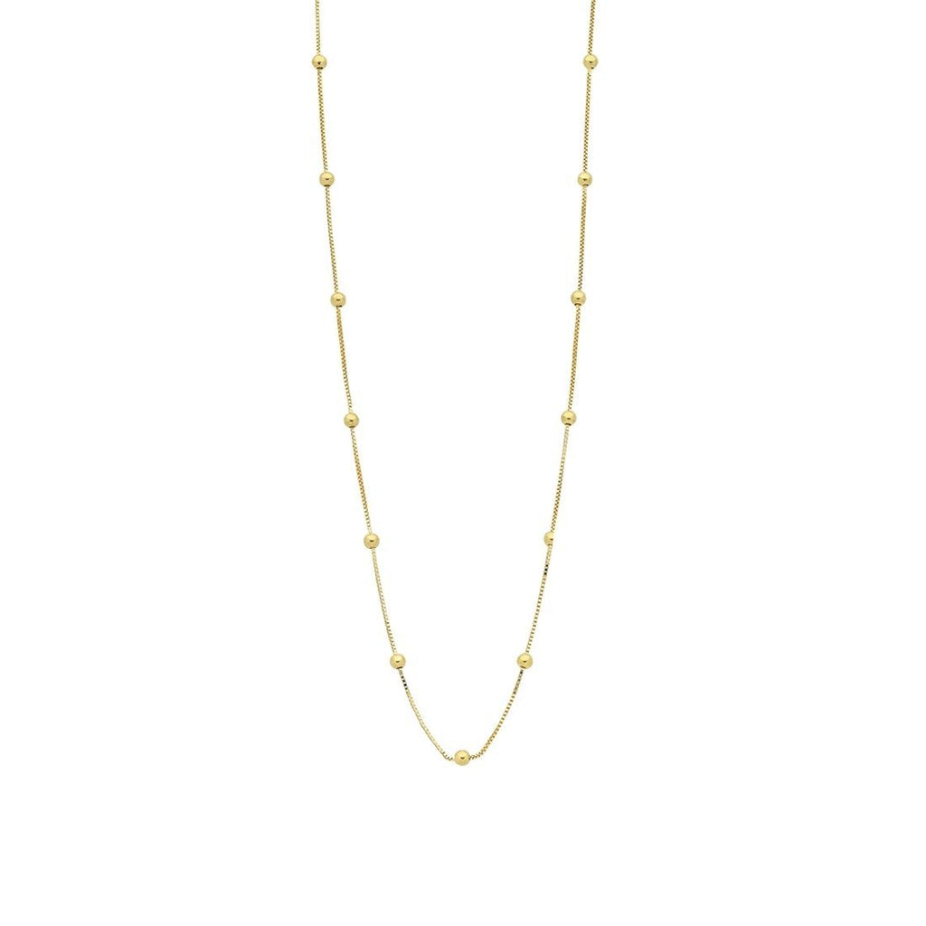 9ct Yellow Gold Silver Infused Chain And Ball Necklace 40cm