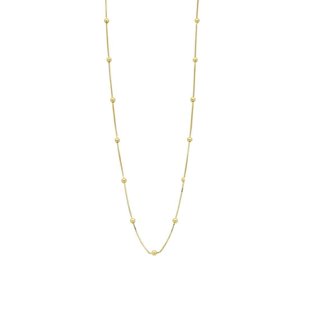 9ct Yellow Gold Silver Infused Chain And Ball Necklace 45cm Necklaces Bevilles