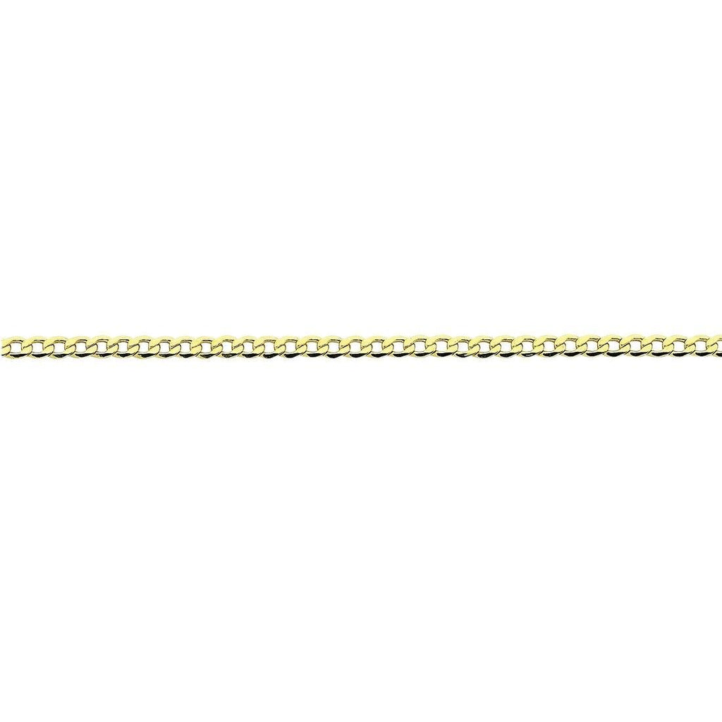 9ct Yellow Gold Silver Infused Open Curb Necklace 50cm