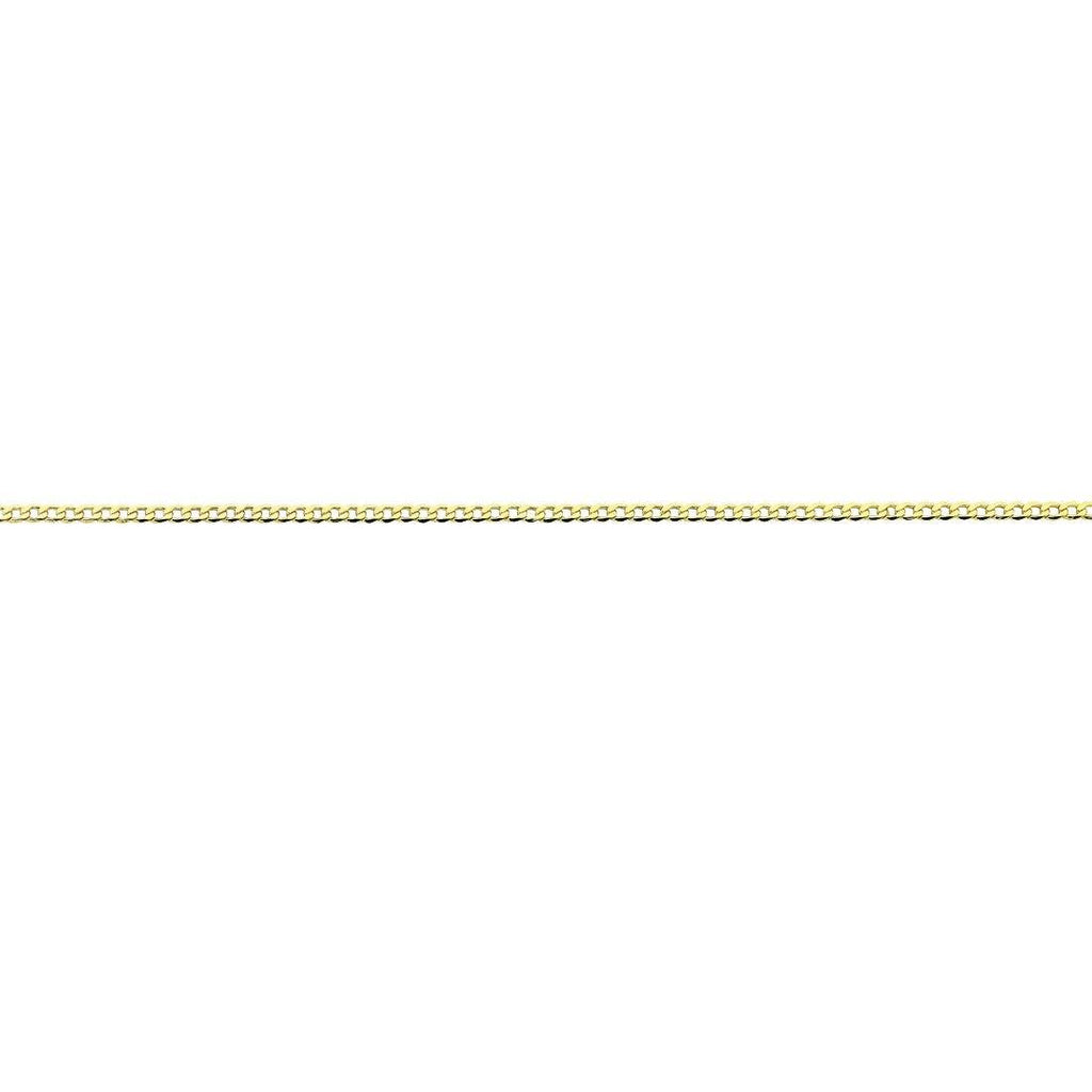 9ct Yellow Gold Silver Infused Open Curb Necklace 55cm