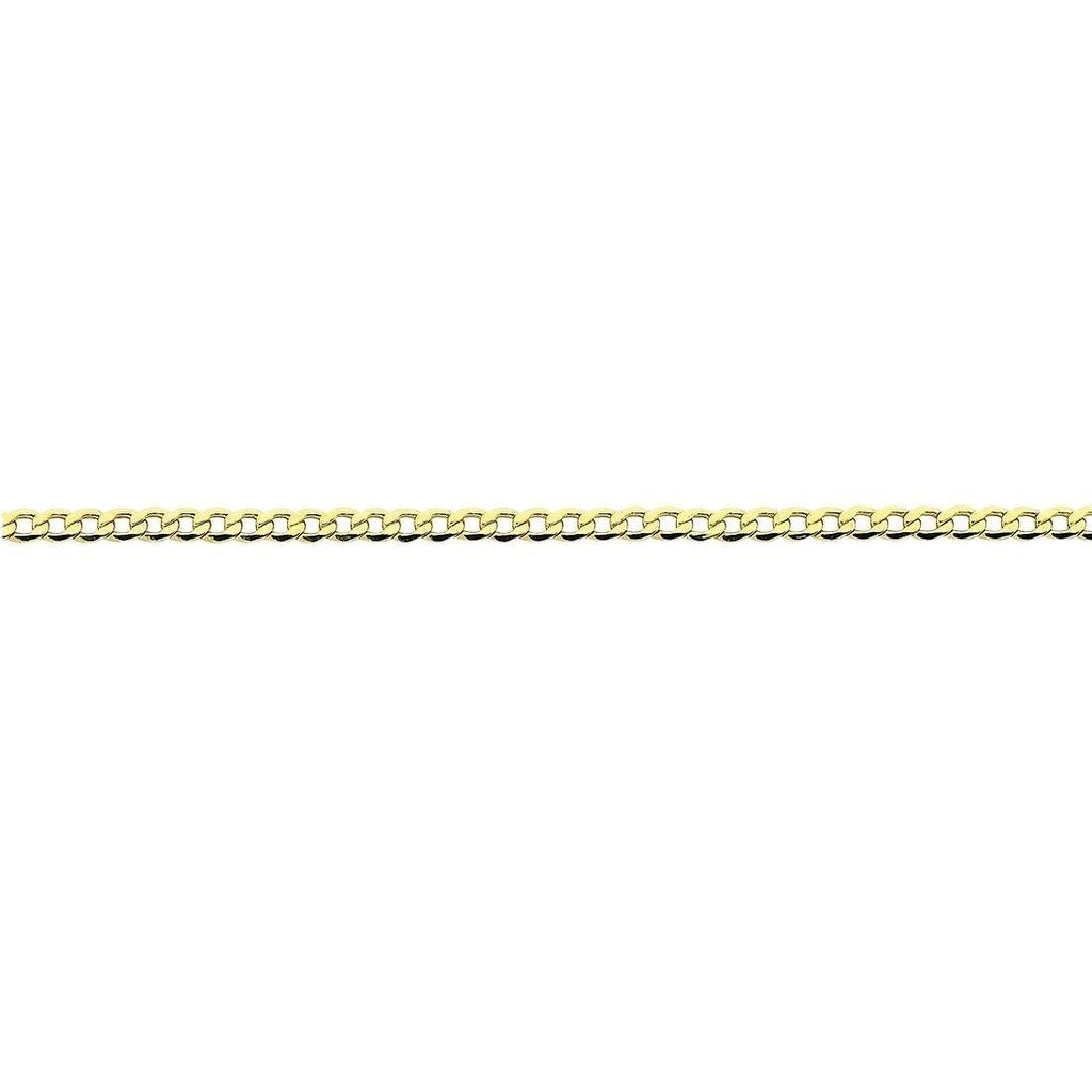 9ct Yellow Gold Silver Infused Open Curb Necklace 75cm Necklaces Bevilles
