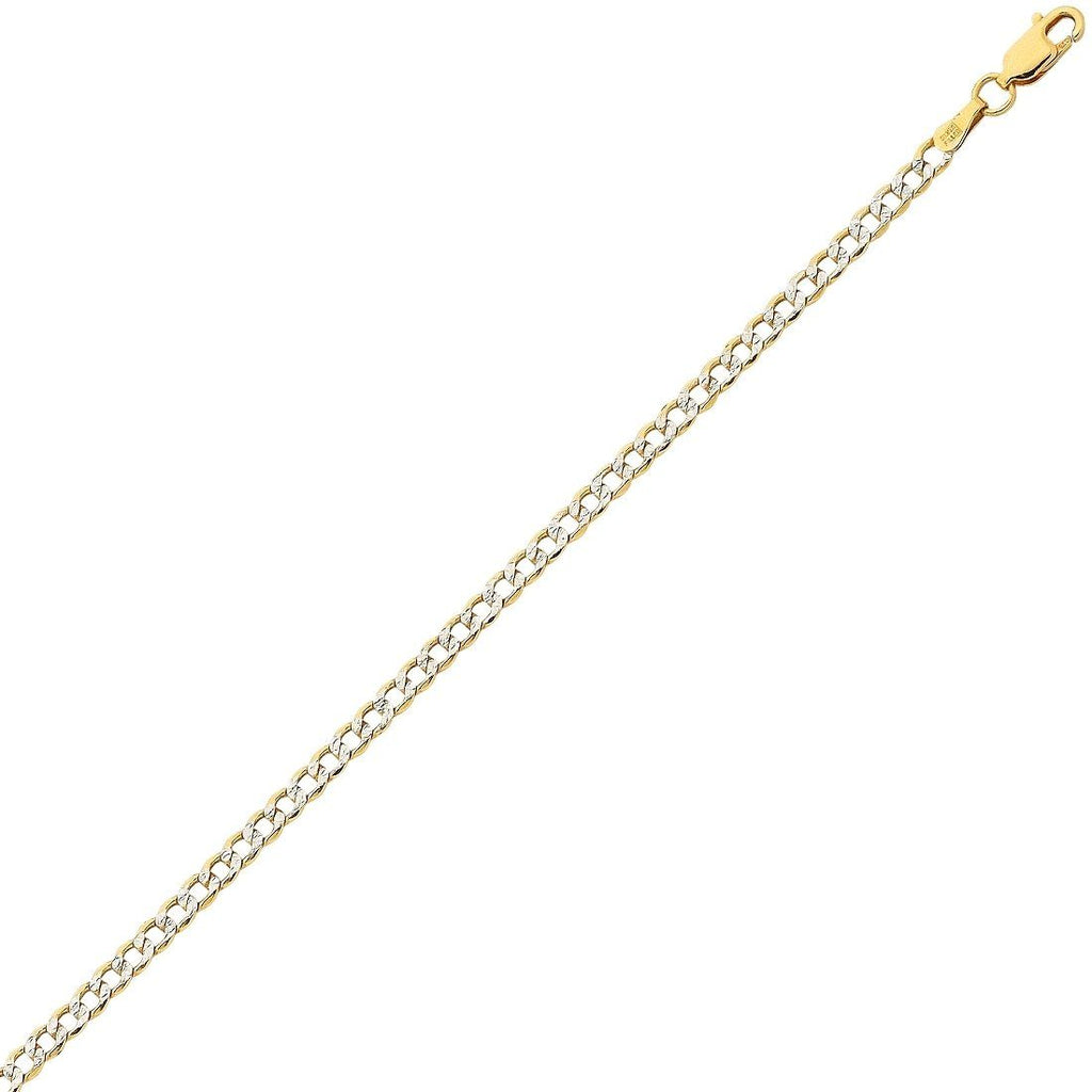 9ct Yellow Gold Silver Infused 2 Tone Diamond Cut Curb Necklace 55cm