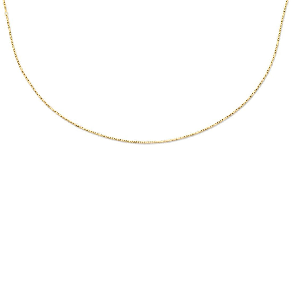 9ct Yellow Gold Silver Infused Box Chain Necklace Necklaces Bevilles