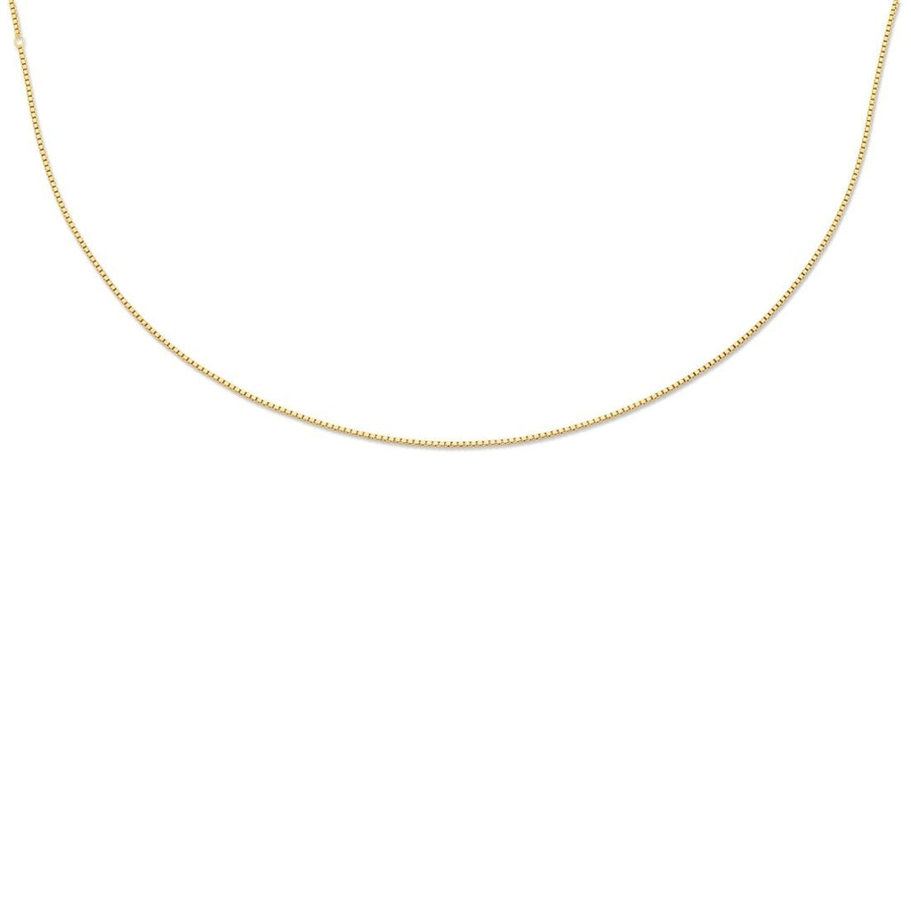 9ct Yellow Gold Silver Infused Box Chain Necklace 55cm