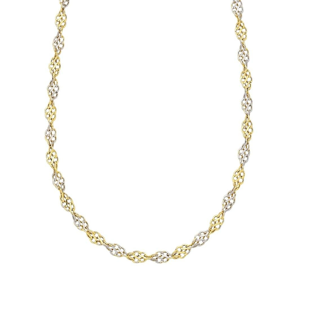 9ct Two Tone Gold Silver Infused Necklace Necklaces Bevilles