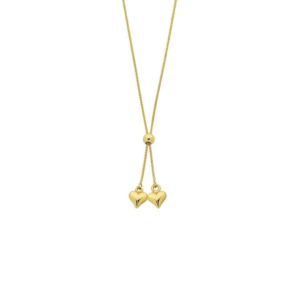 9ct Yellow Gold Silver Infused Two Hearts Necklace
