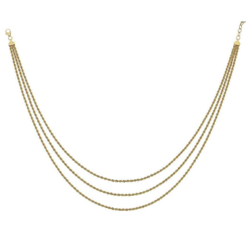 9ct Yellow Gold Silver Infused Triple Rope Cascading Necklace Necklaces Bevilles