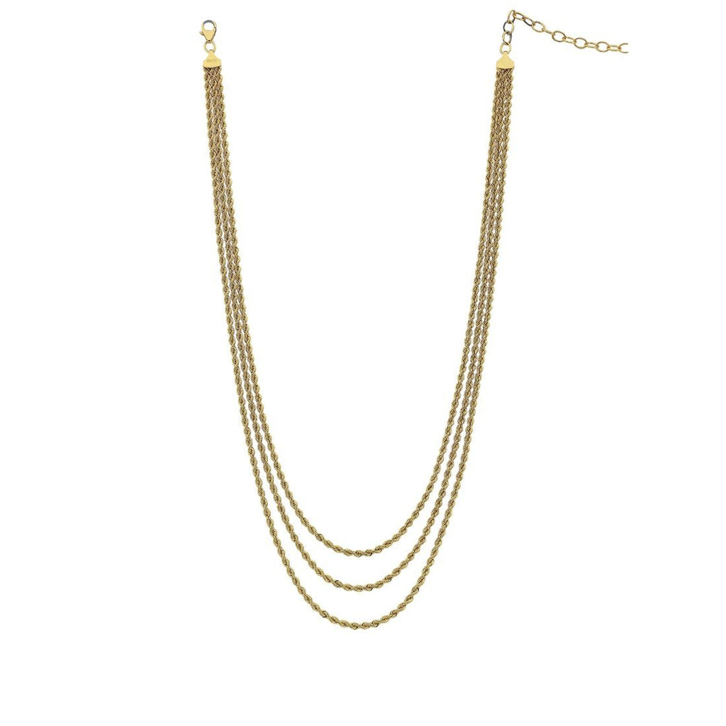 9ct Yellow Gold Silver Infused Triple Rope Cascading Necklace