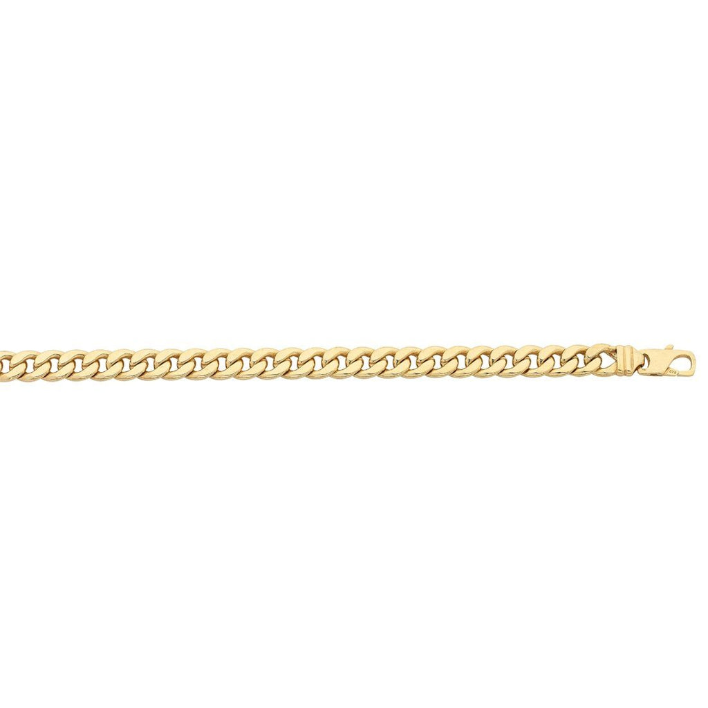 9ct Yellow Gold Silver Infused Curb Necklace