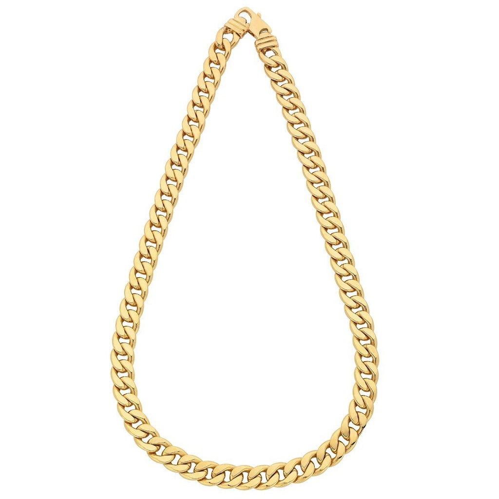 9ct Yellow Gold Silver Infused Curb Necklace 60cm Necklaces Bevilles