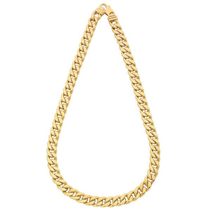 9ct Yellow Gold Silver Infused Curb Necklace 60cm