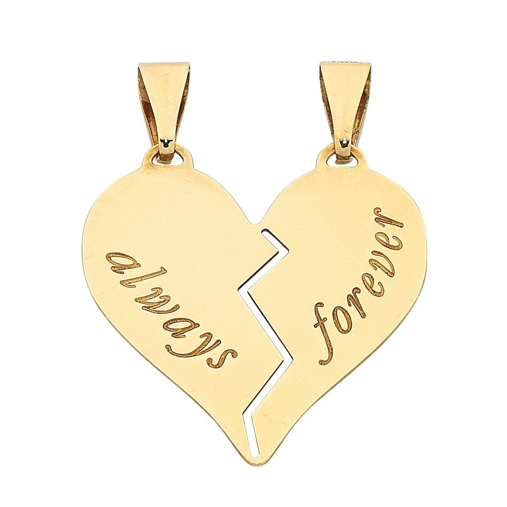 9ct Yellow Gold Silver Infused 'Always Forever' Heart Charm Necklaces Bevilles