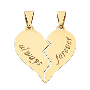 9ct Yellow Gold Silver Infused 'Always Forever' Heart Charm