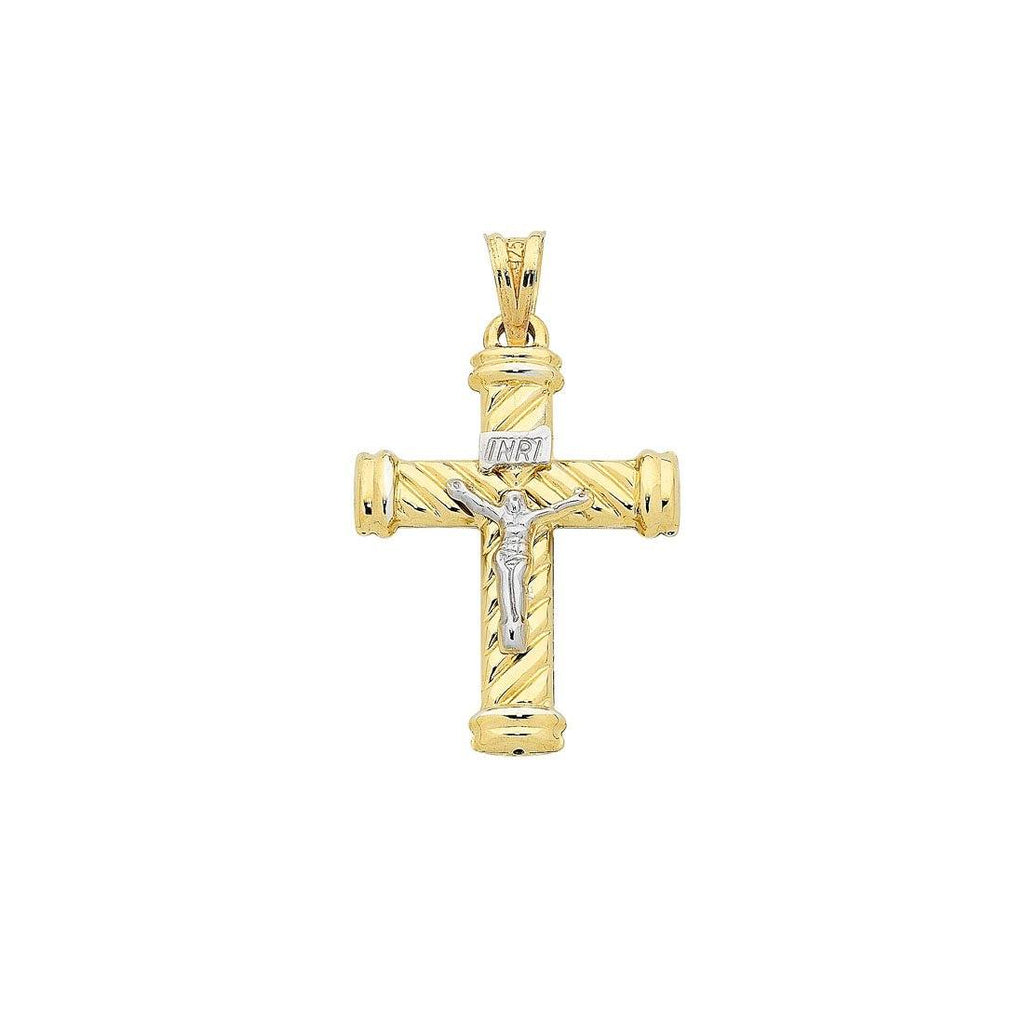 9ct Yellow Gold Silver Infused Crucifix Pendant