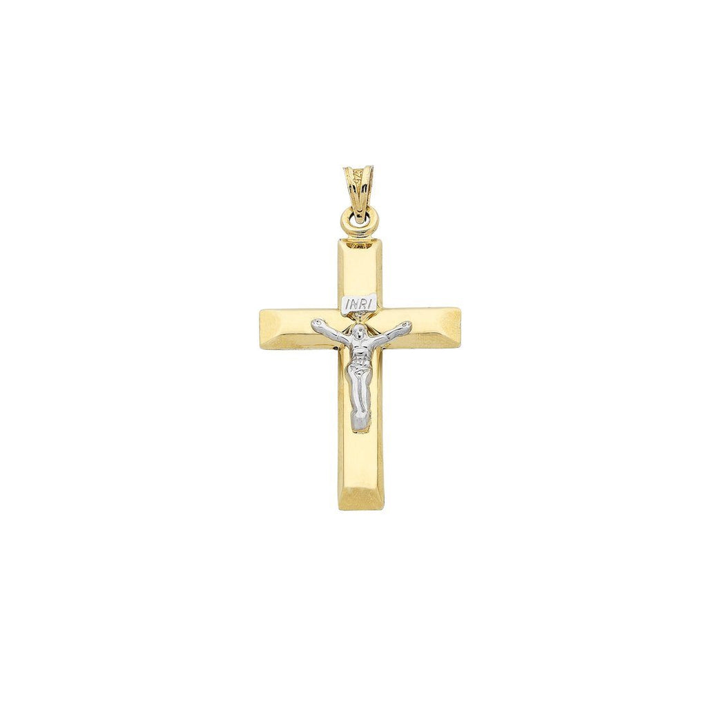 9ct Yellow Gold Silver Infused Two Tone Crucifix Charm Necklaces Bevilles
