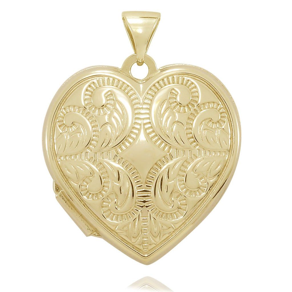 9ct Yellow Gold Infused Filigree Heart Locket 21mm Necklaces Bevilles