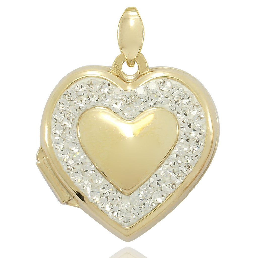 9ct Yellow Gold Infused Crystal Heart Locket 18mm Necklaces Bevilles