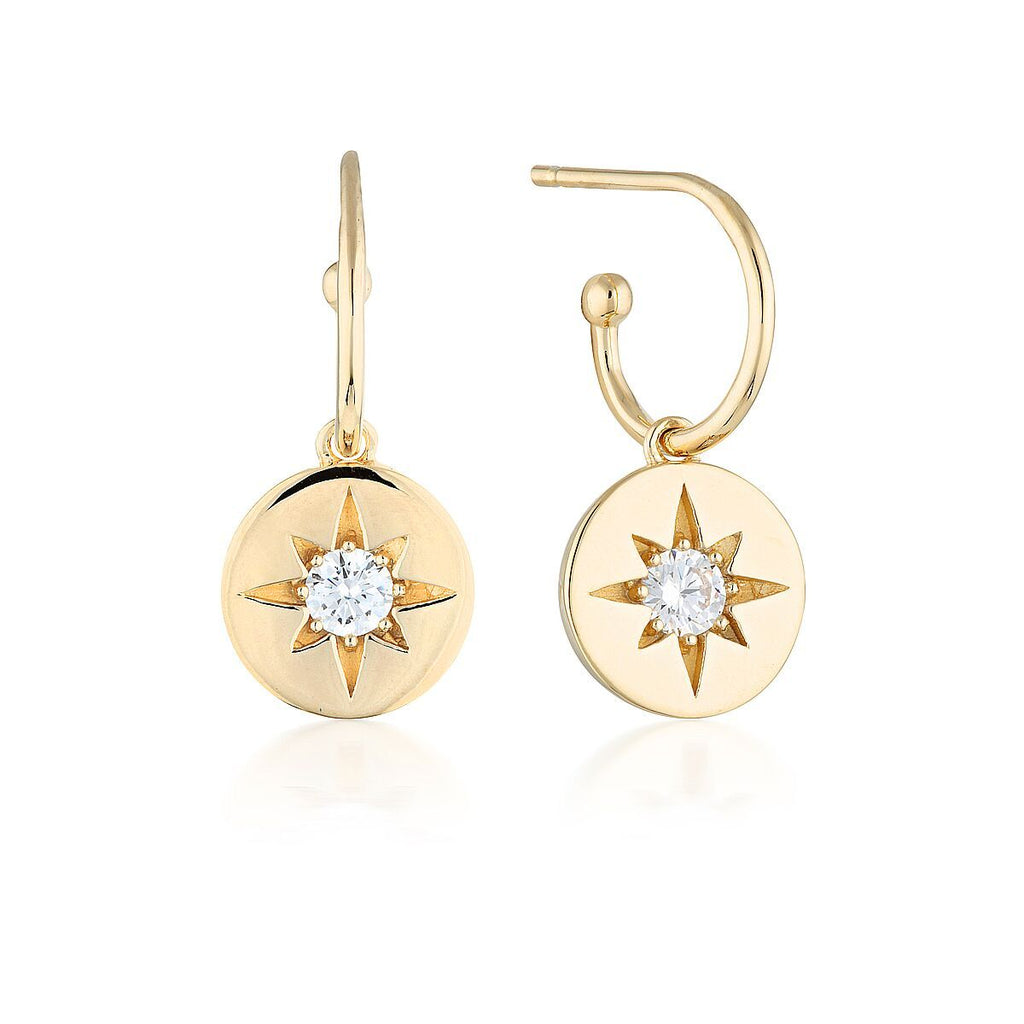 STELLAR LIGHTS GOLD DROP HOOP EARRINGS Bevilles Jewellers
