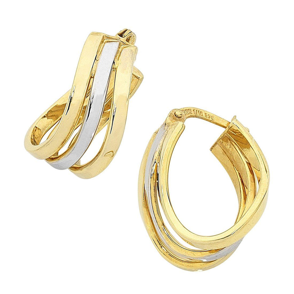 9ct Two Tone Gold Silver Infused Triple Row Earrings Earrings Bevilles
