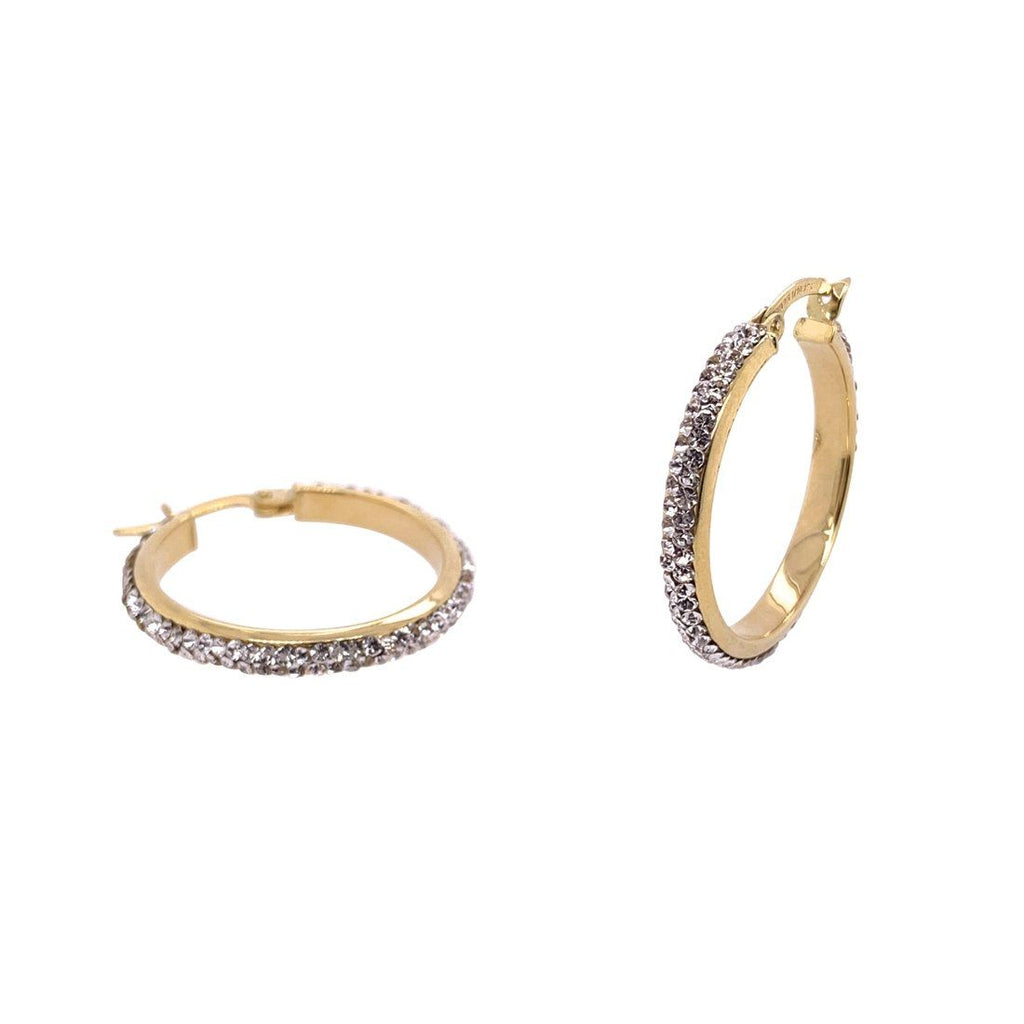 9ct Yellow Gold Silver Infused Crystal Hoop Earrings 20mm