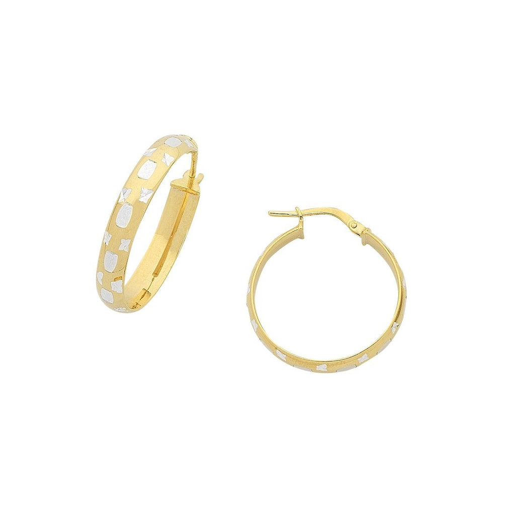 9ct Yellow Gold Silver Infused Diamond Cut Hoop Earrings 15mm Earrings Bevilles