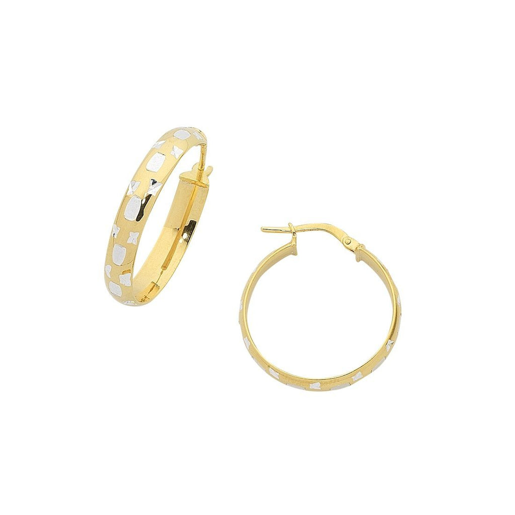 9ct Yellow Gold Silver Infused Diamond Cut Hoop Earrings 20mm Earrings Bevilles