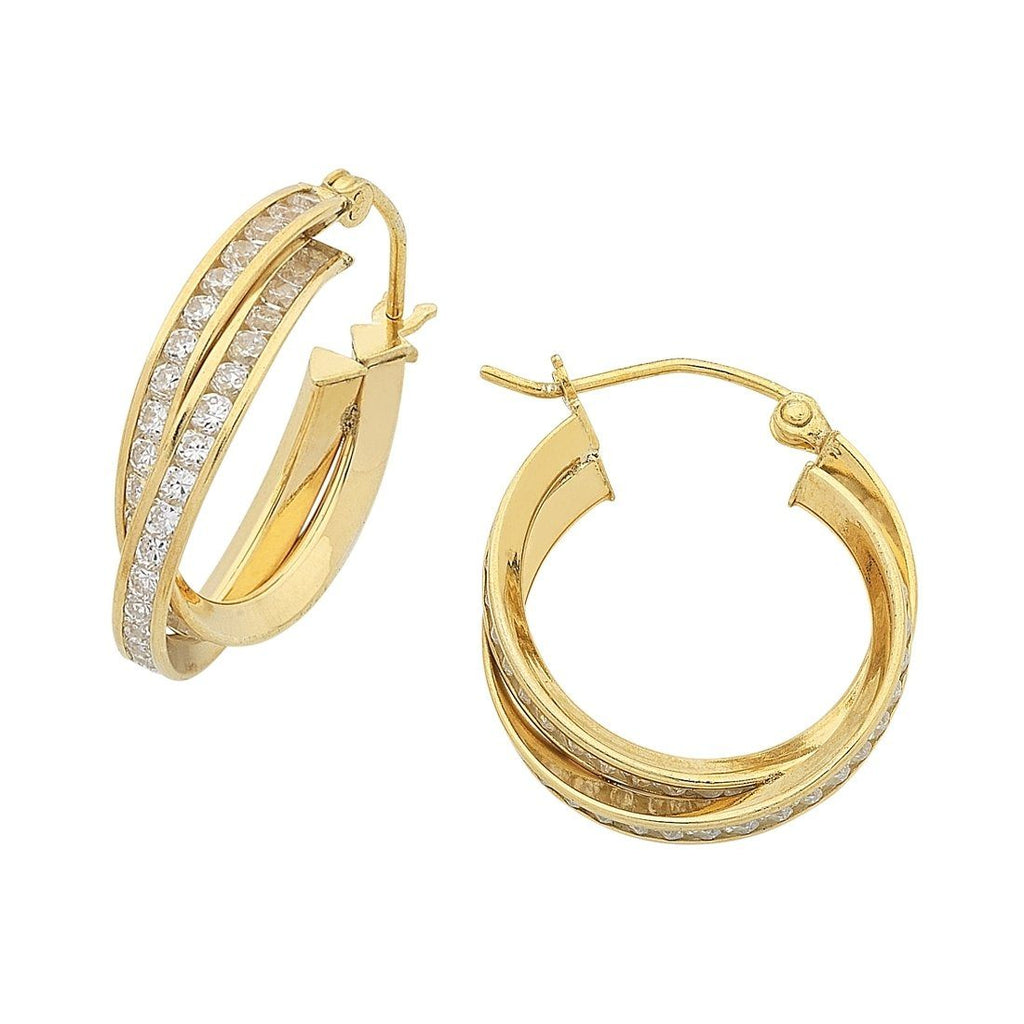 9ct Yellow Gold Silver Infused Cubic Zirconia Double Hoop Earrings 15mm