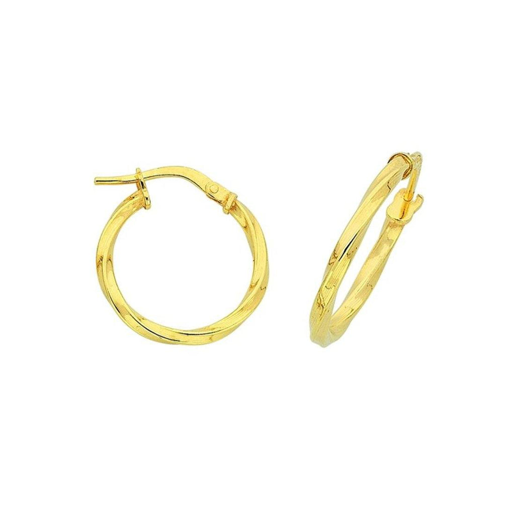 9ct Yellow Gold Silver Infused Twist Hoop Earrings