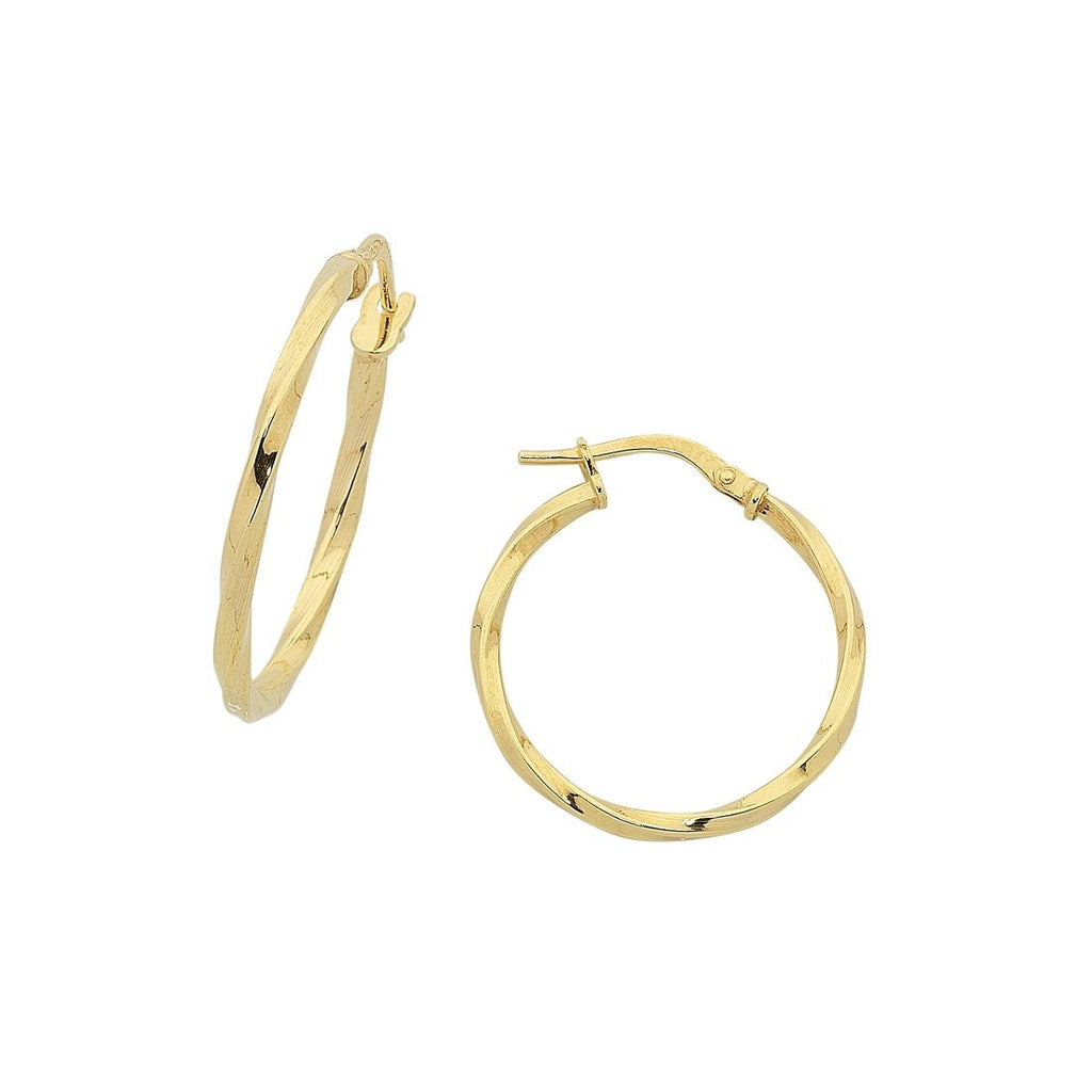 9ct Yellow Gold Silver Infused Twist Hoop Earrings 20mm Earrings Bevilles