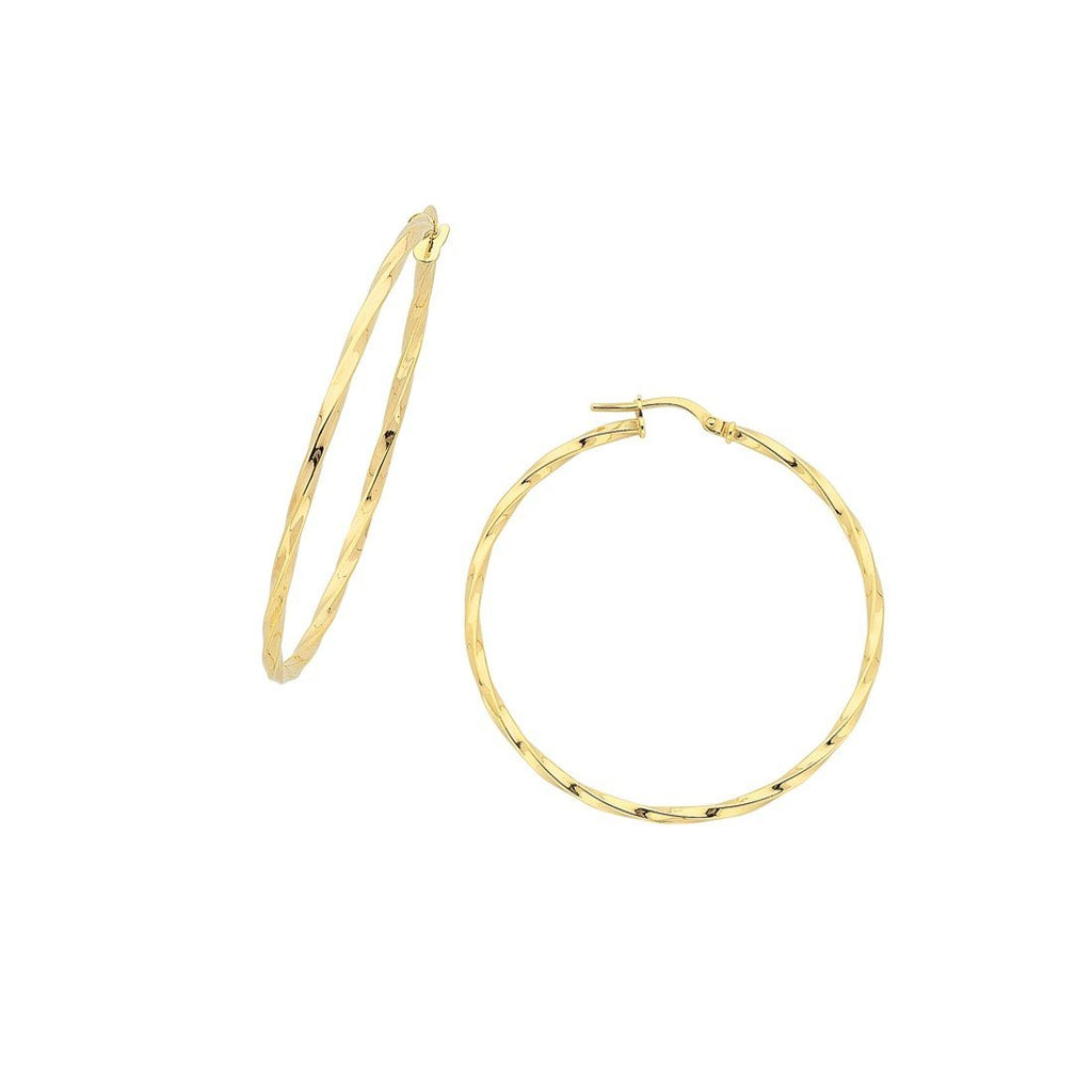 9ct Yellow Gold Silver Infused Twist Hoop Earrings 40mm Earrings Bevilles