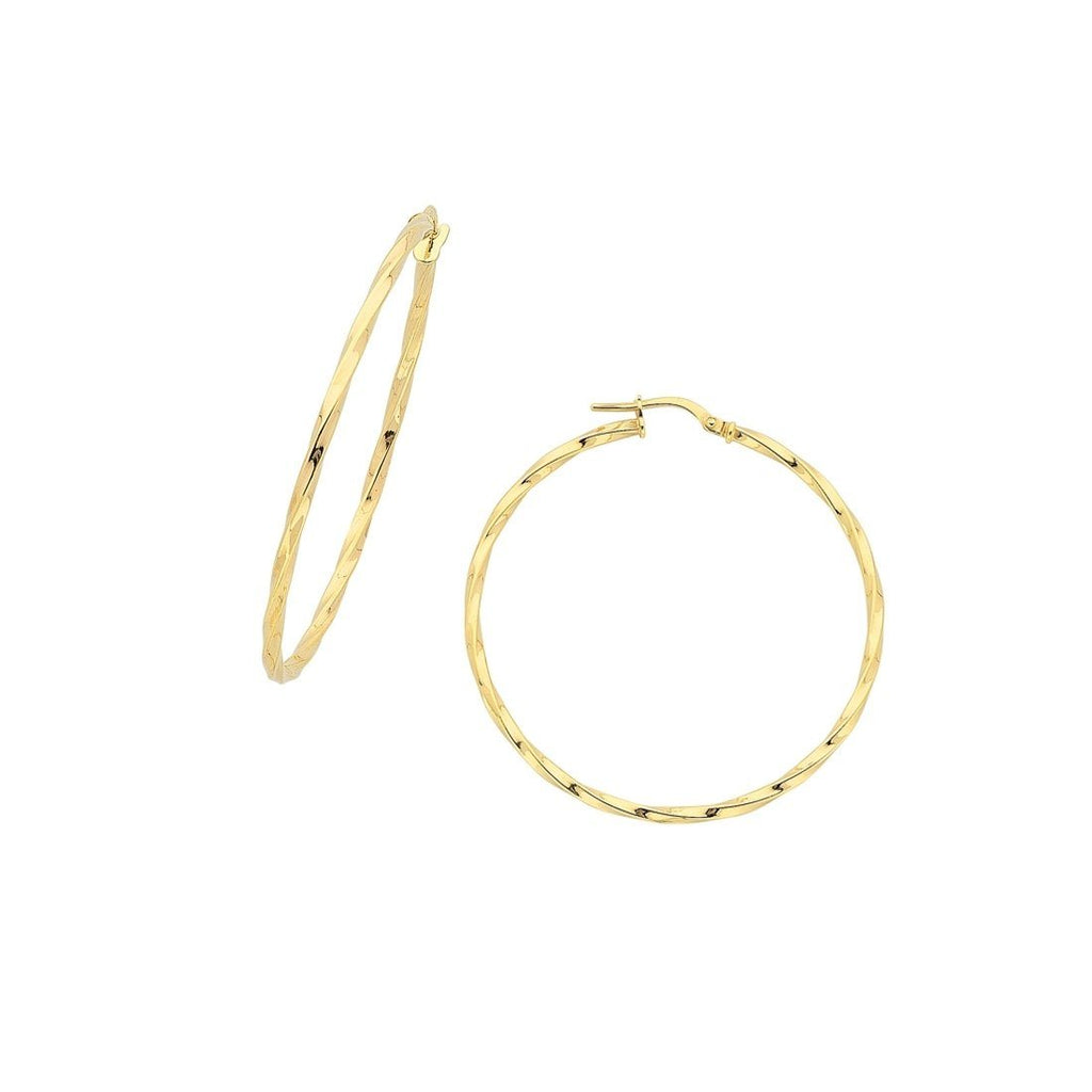 9ct Yellow Gold Silver Infused Twist Hoop Earrings 50mm