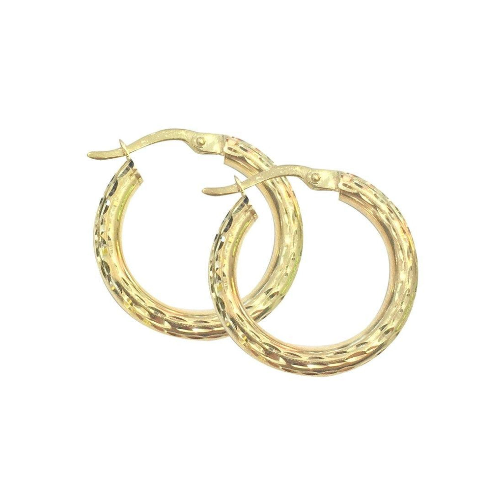 9ct Yellow Gold Silver Infused Thick Hoop Earrings