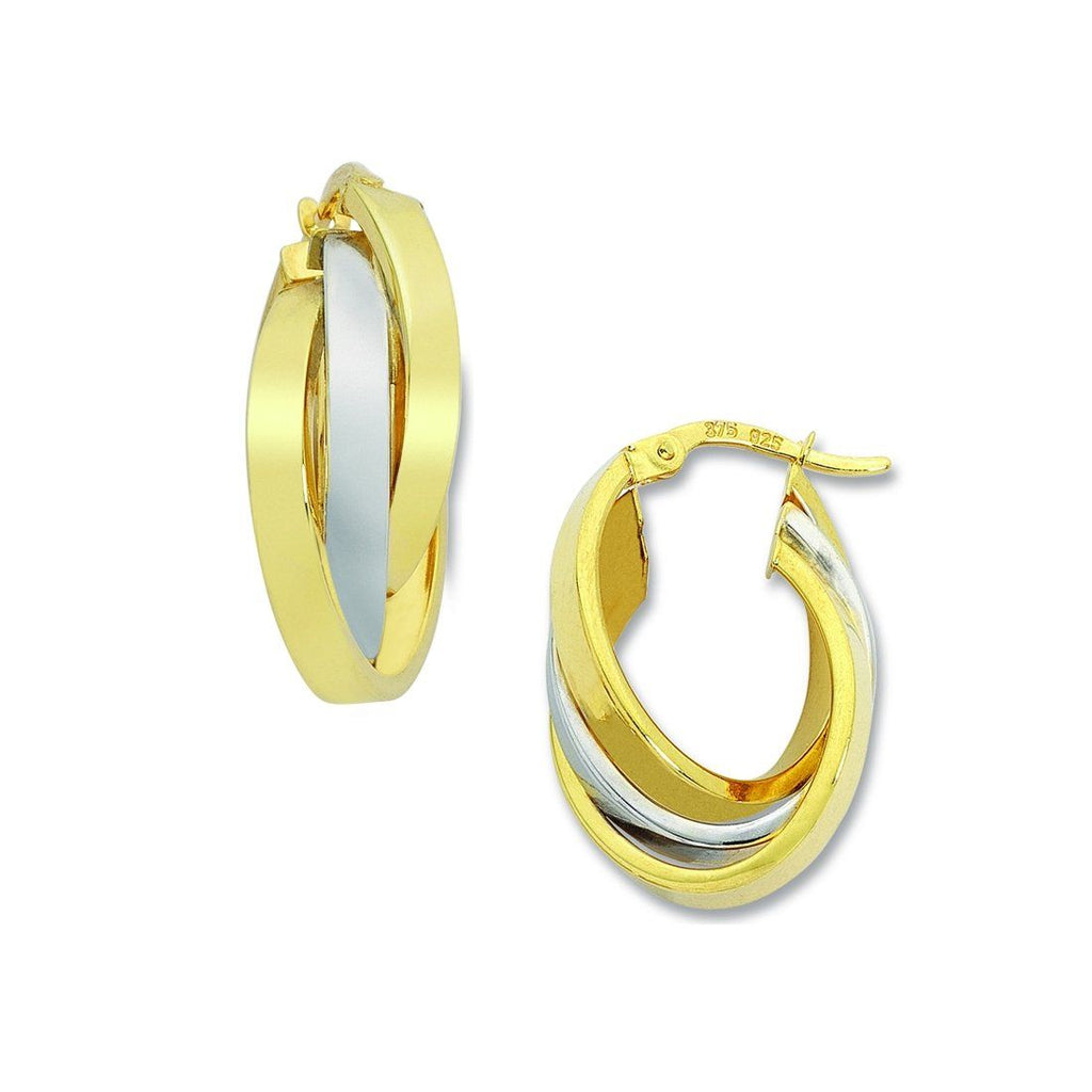 9ct Two Tone Gold Silver Infused Oval Hoop Earrings Earrings Bevilles