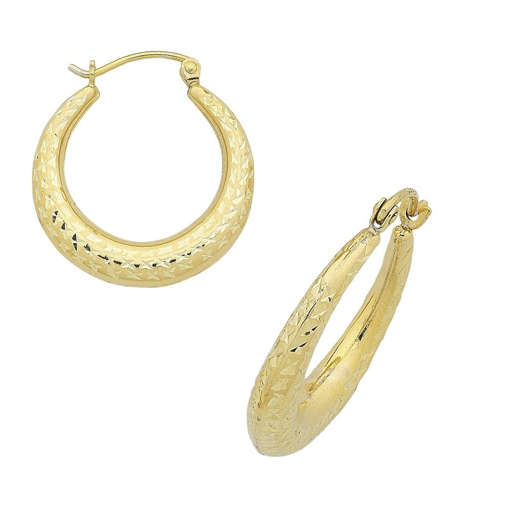 9ct Yellow Gold Silver Infused Diamond Cut Creole Hoop Earrings