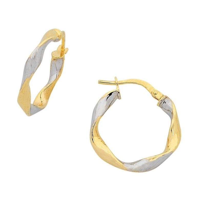 9ct Yellow Gold Silver Infused Two Tone Earrings 15mm Earrings Bevilles