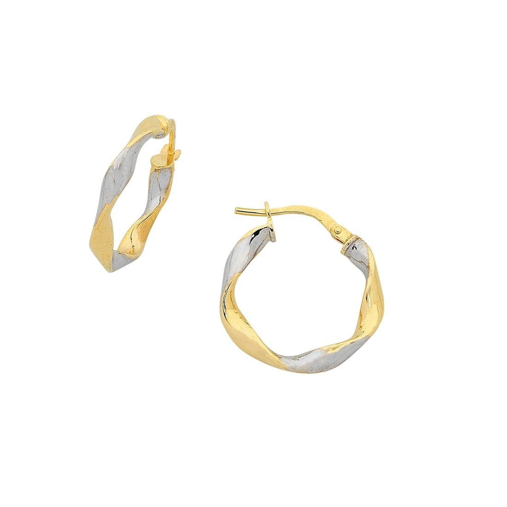 9ct Yellow Gold Silver Infused Two Tone Earrings 20mm Earrings Bevilles