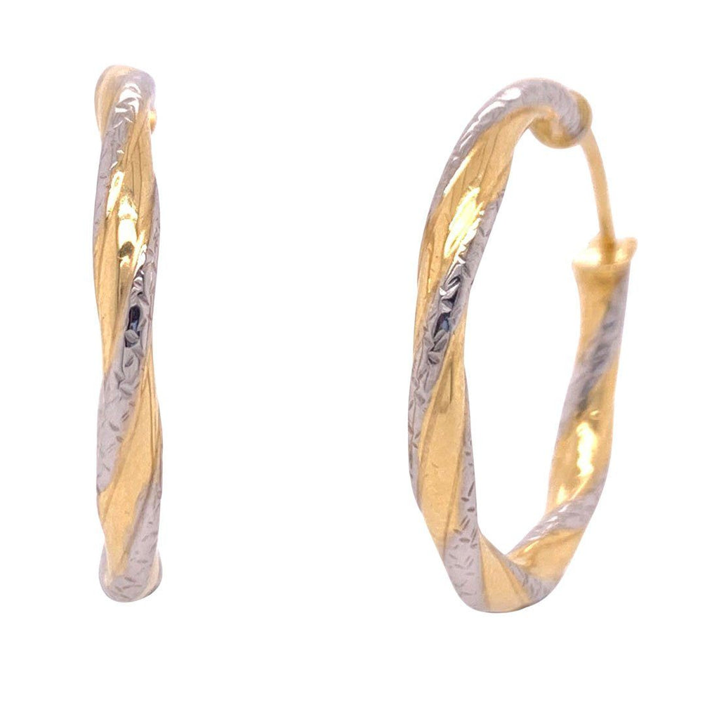 9ct Yellow Gold Silver Infused Twist Two Tone Hoop Earrings 20mm Earrings Bevilles