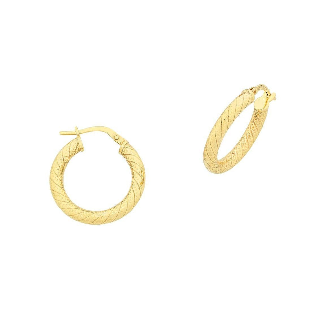 9ct Yellow Gold Silver Infused Thick Twist Hoop Earrings
