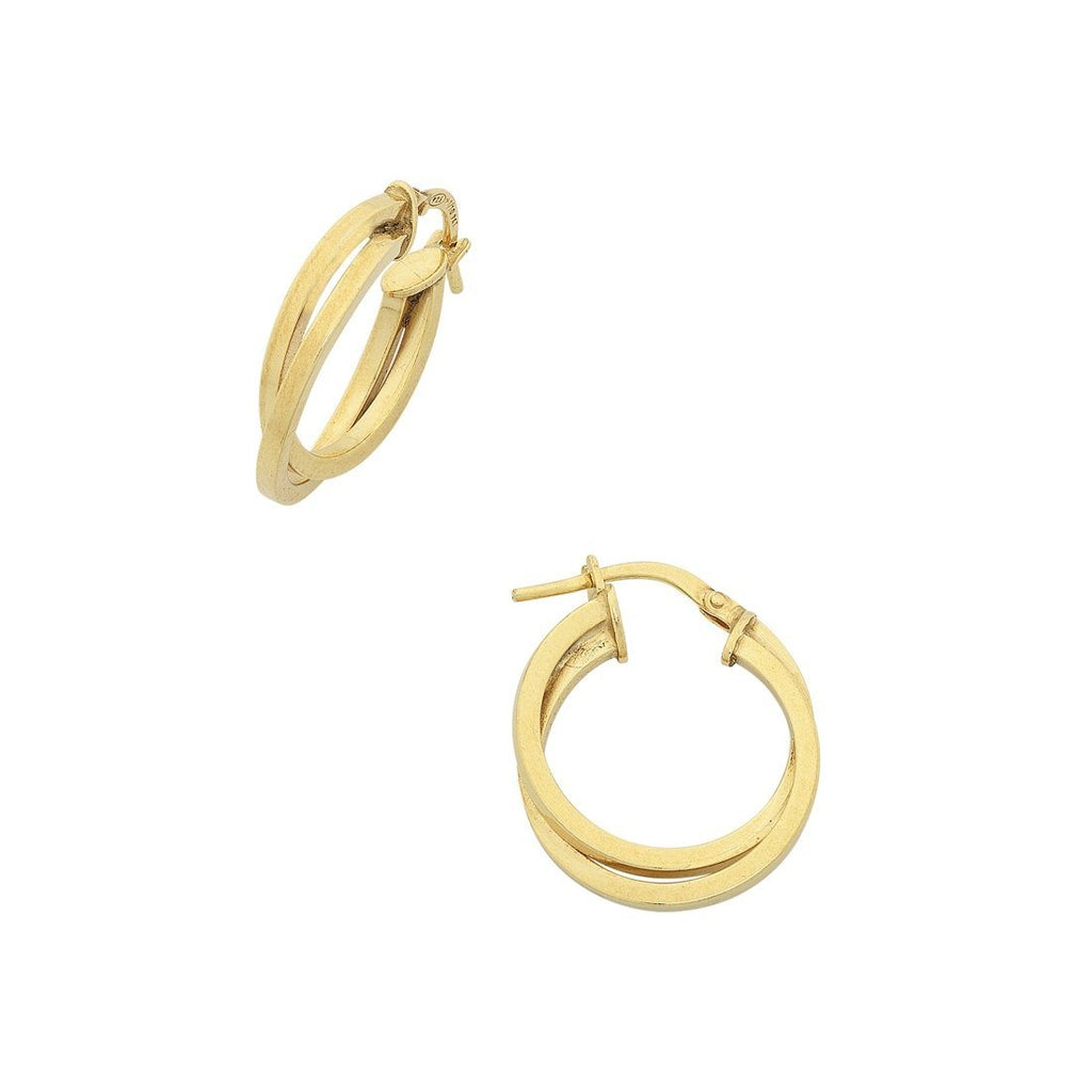 9ct Yellow Gold Silver Infused Double Crossover Hoop Earrings Earrings Bevilles