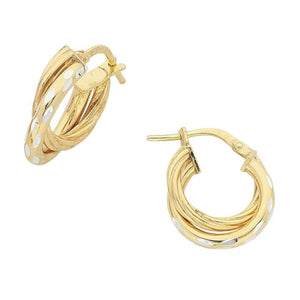 9ct Yellow Gold Silver Infused Double Earrings
