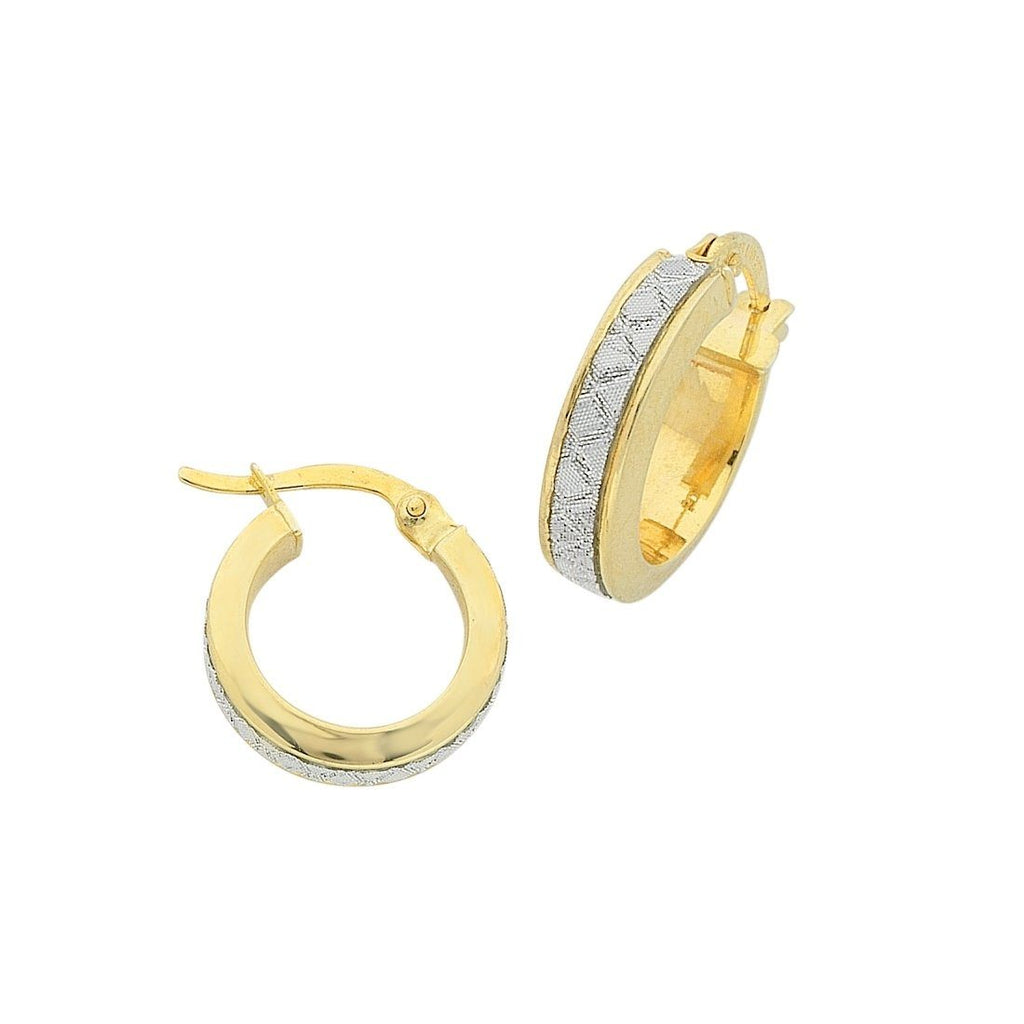 9ct Yellow Gold Silver Infused Stardust Criss Cross Hoop Earrings 15mm Earrings Bevilles