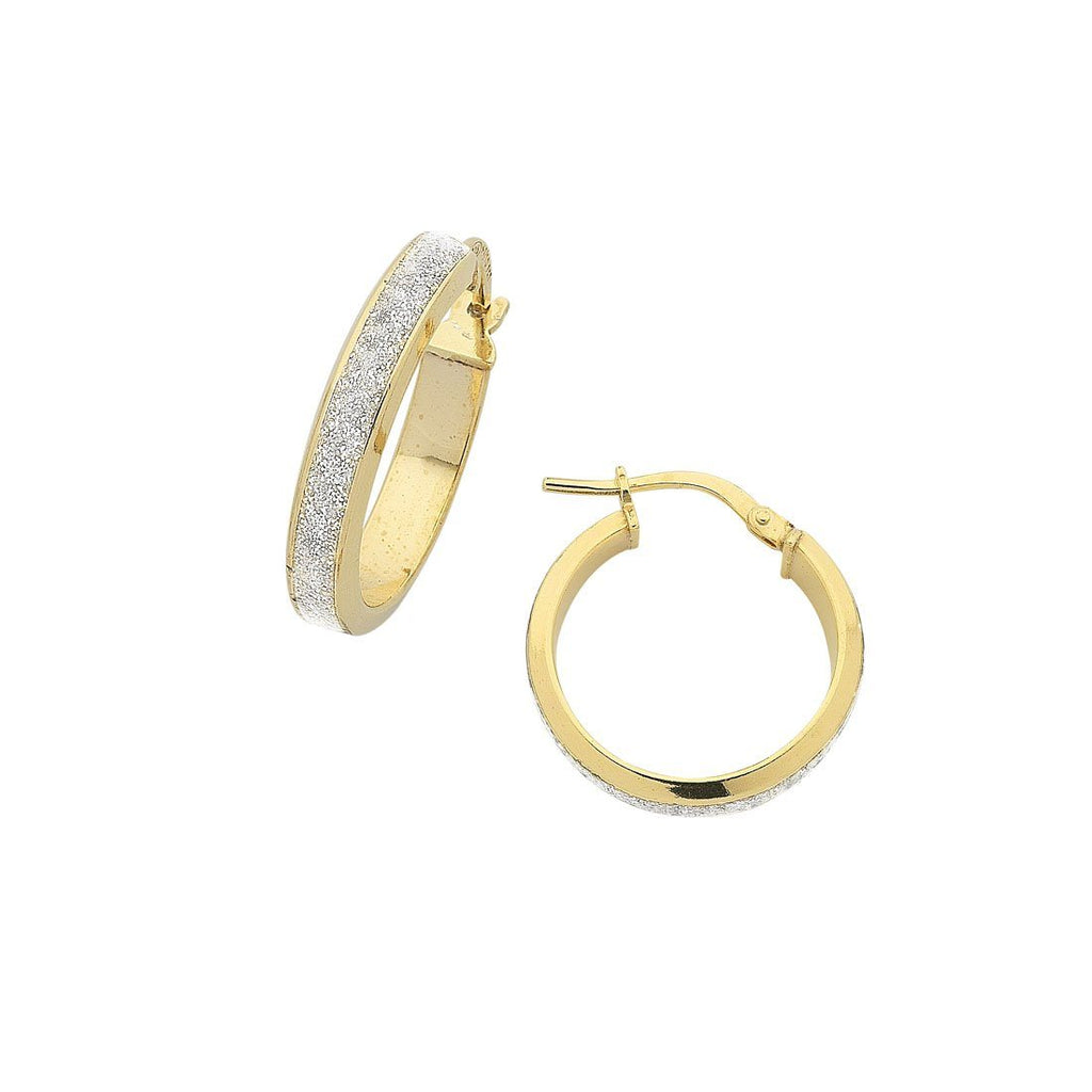 9ct Yellow Gold Silver Infused Stardust Hoop Earrings