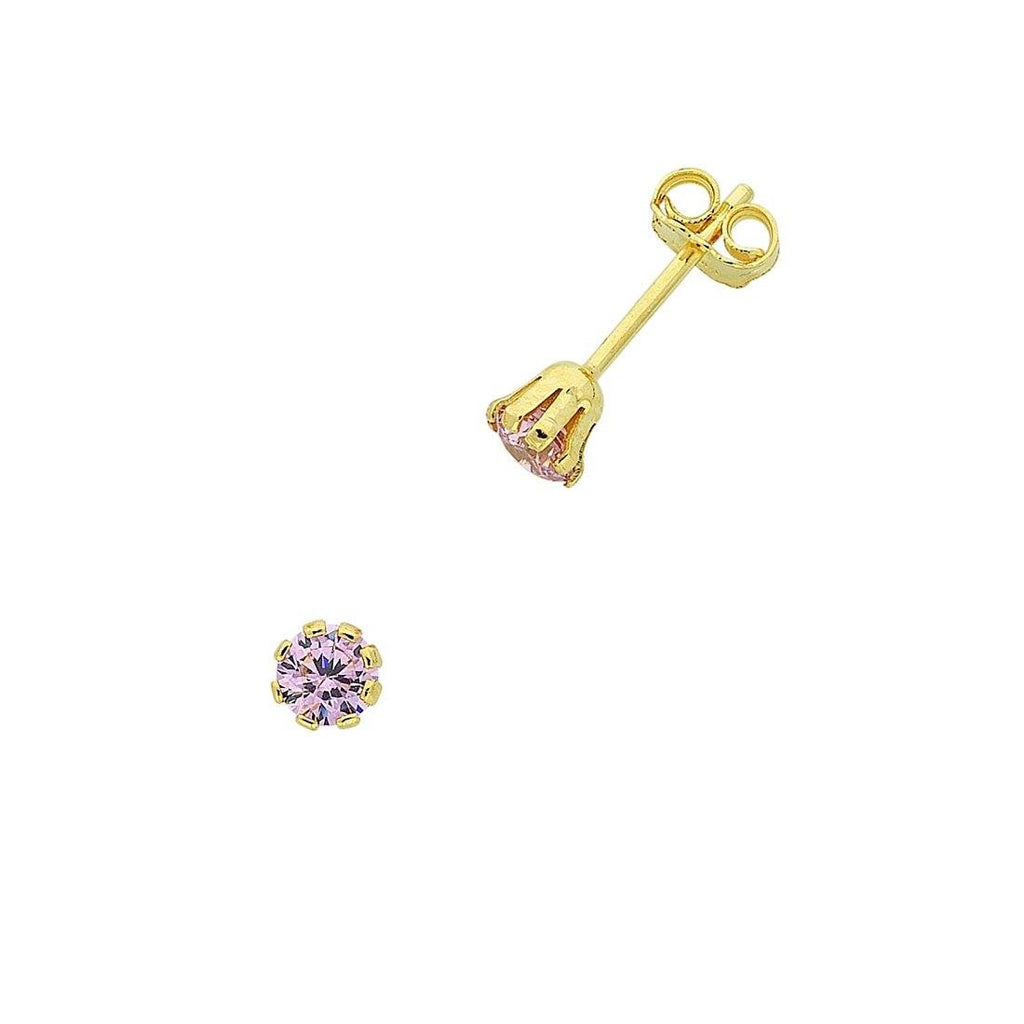 9ct Yellow Gold Silver Infused Pink Cubic Zirconia Stud Earrings