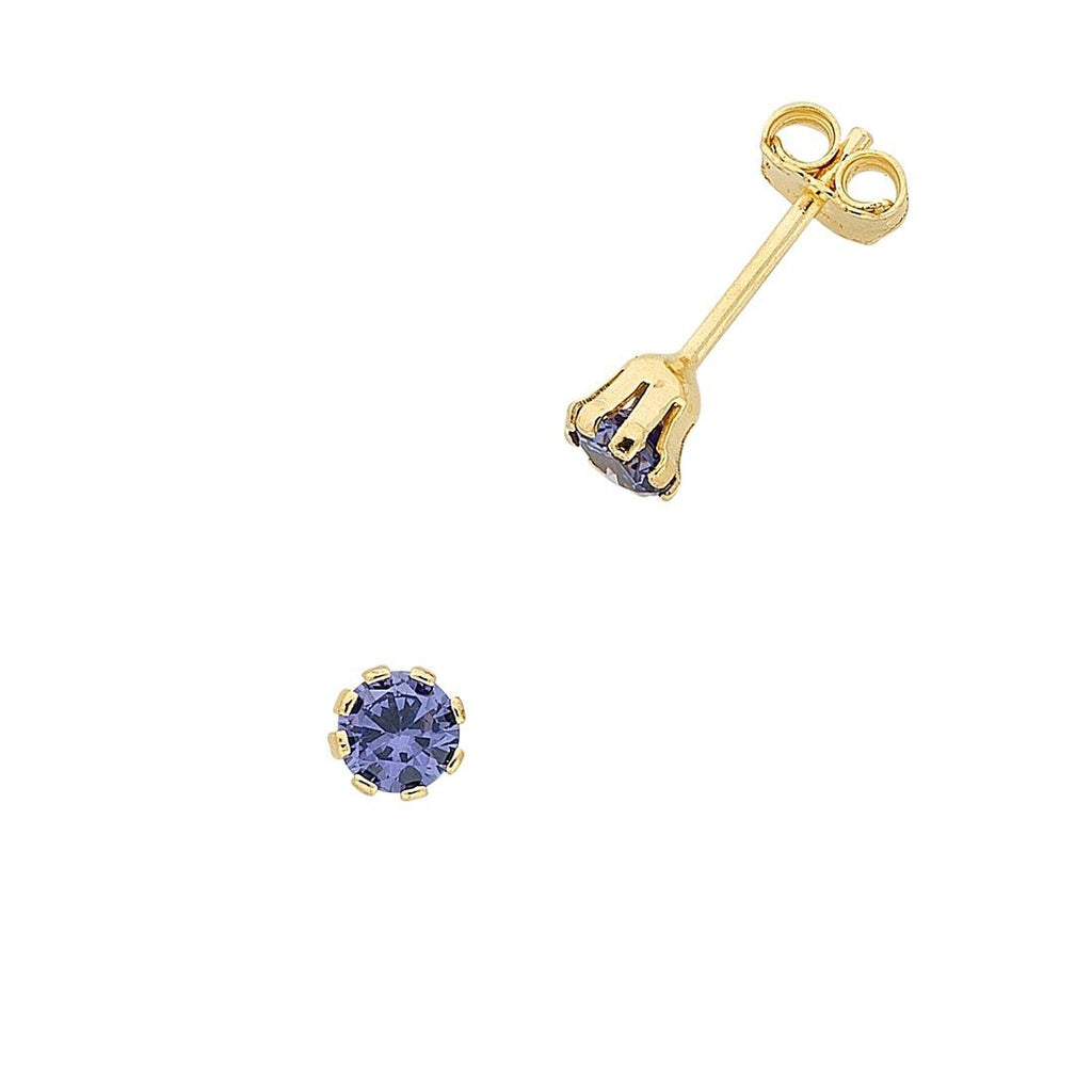 9ct Yellow Gold Silver Infused Dark Blue Cubic Zirconia Stud Earrings