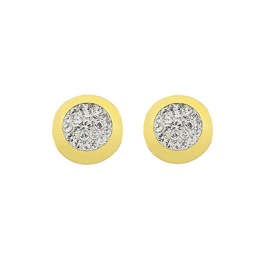 9ct Yellow Gold Silver Infused Crystal Pave Stud Earrings