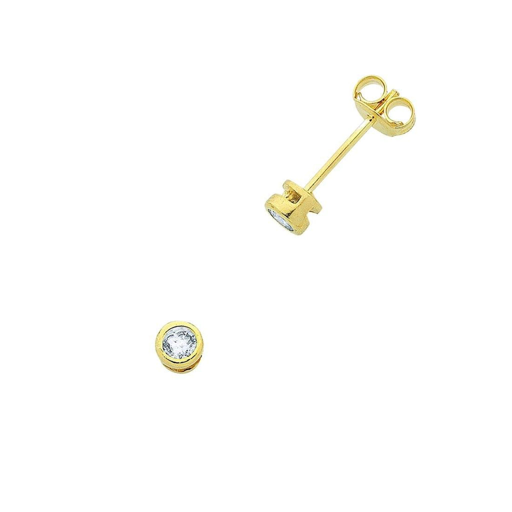 9ct Yellow Gold Silver Infused Cubic Zirconia Bezel Stud Earrings