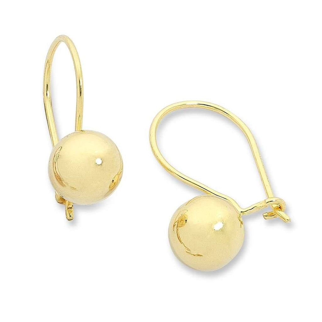 9ct Yellow Gold Silver Infused Euro Ball Earrings 8mm