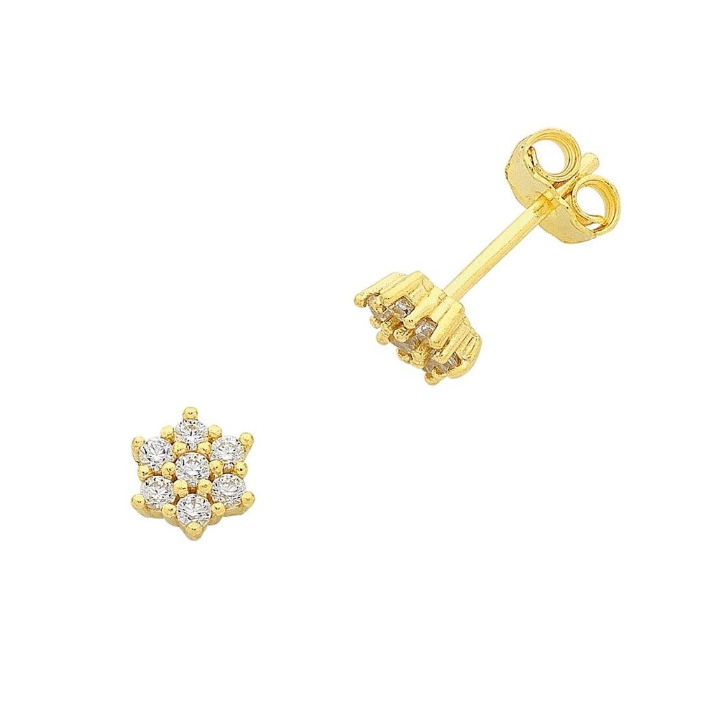 9ct Yellow Gold Silver Infused Stud Earrings
