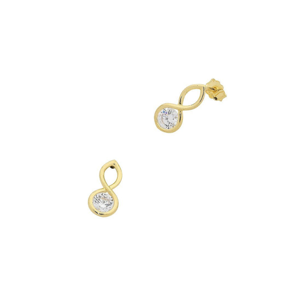 9ct Yellow Gold Silver Infused Cubic Zirconia Infinity Earrings Earrings Bevilles